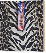 Remote Control On Animal Print Background Wood Print by Eddy Joaquim