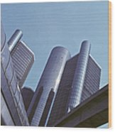 Renaissance Center In Detroit Wood Print by Will & Deni McIntyre