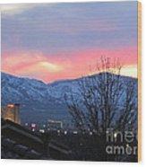 Reno At Night Wood Print