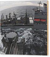 Replenishment At Sea Between Usns Wood Print