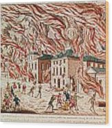 Representation Of The Terrible Fire Of New York Wood Print