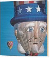 Republican Balloon Flys At Albuquerque Wood Print by Carl Purcell