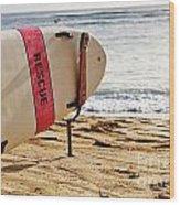 Rescue Surfboard Wood Print