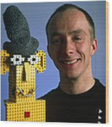 Researcher With His Happy Emotional Lego Robot Wood Print