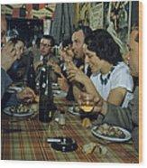 Restaurant Diners Eat Snails, Drink Wood Print by Justin Locke