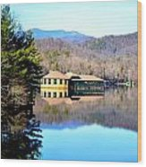 Restaurant Over Looking The Lake In North Carolina Wood Print