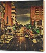 Retro College Avenue Wood Print