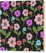 Retro Florals Wood Print by Louisa Knight