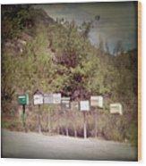 Retro Mailboxes Wood Print by Marcel ter Bekke
