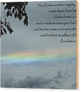 Revelation 10 Rainbow Wood Print by Cindy Wright