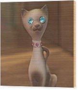 Rhinestone Cat Wood Print
