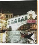 Rialto Bridge Night Scene Wood Print