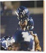 Rice Football Helmets  Wood Print