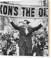 Richard Nixon, Delivering His The V Wood Print by Everett