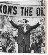Richard Nixon, Delivering His The V Wood Print