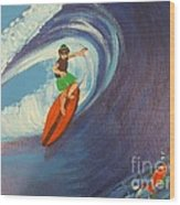 Ride The Waves Wood Print