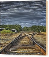Riding The Tracks Wood Print