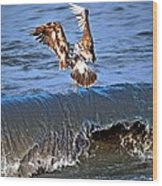 Riding The Wave  Wood Print by Debra  Miller