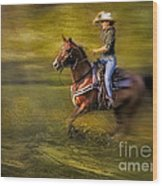 Riding Thru The Meadow Wood Print by Susan Candelario