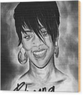 Rihanna Smiles Wood Print by Kenal Louis