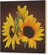 Ring Of Sunflowers Wood Print
