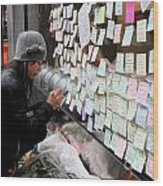Rip Steve Jobs . October 5 2011 . San Francisco Apple Store Memorial 7dimg8572 Wood Print by Wingsdomain Art and Photography