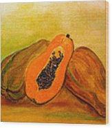 Ripe Papaya Wood Print