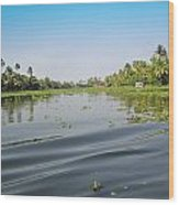 Ripples On The Water Of The Saltwater Lagoon In Alleppey In Kerala In India Wood Print