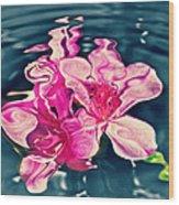 Rippling Flowers Wood Print