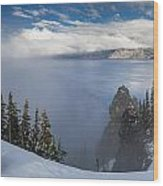 Rising Mists From Crater Lake Panorama Wood Print