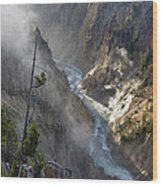Rising Mists From Grand Canyon Of The Yellowstone Wood Print