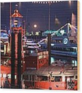 Rising Moon Over Lightship Wood Print