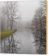 River In The Fog Wood Print
