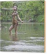 River Indian Wood Print