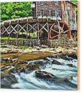 River Rock And A Grist Mill Wood Print