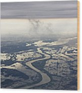 River Running Through A Flooded Countryside Wood Print by Jeremy Woodhouse