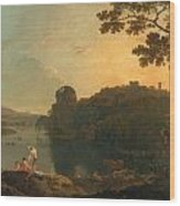 River Scene- Bathers And Cattle Wood Print