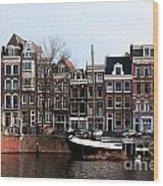 River Scenes From Amsterdam Wood Print