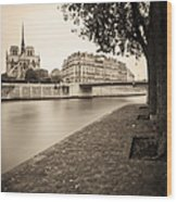 River Seine And Cathedral Notre Dame Wood Print