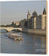 River Seine And Conciergerie. Paris Wood Print