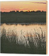 River Sunset Wood Print
