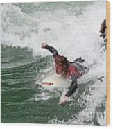 River Surfing Wood Print