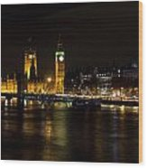River Thames And Westminster Night View Wood Print