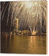 River Thames Fireworks Wood Print