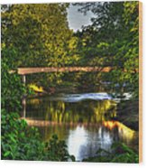 River Walk Bridge Wood Print by Greg and Chrystal Mimbs