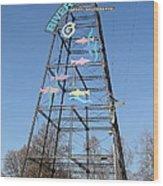 River Walk Tower Sign In West Sacramento California . 7d11400 Wood Print