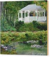 Riverside Gazebo Wood Print