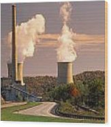 Road And Nuclear Plant.  Kentucky Wood Print