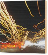 Road Cars And Street Lights Wood Print