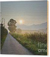 Road In Sunrise Wood Print